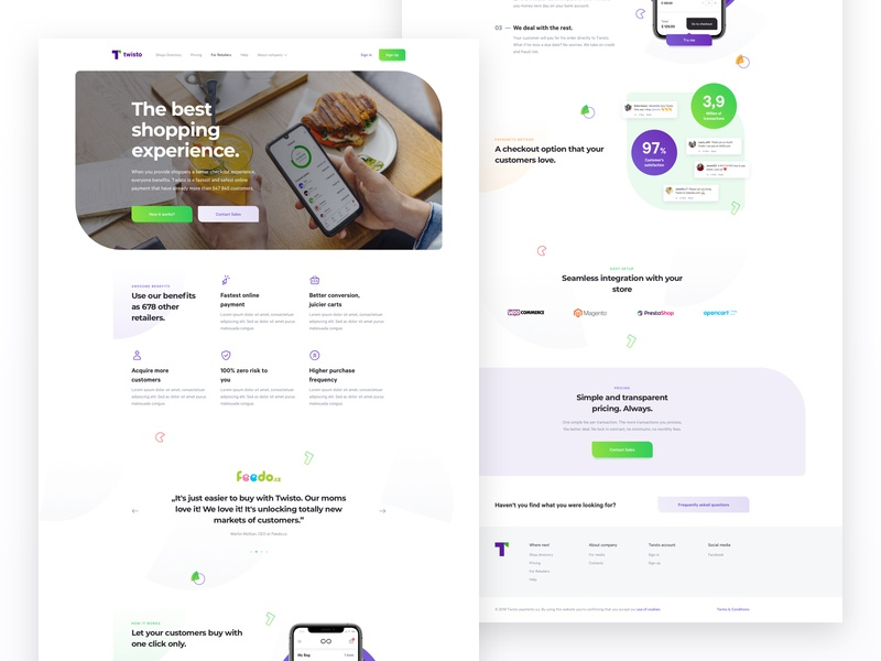 Twisto.pl - Merchants testimonial pattern social stats ecommerce integration twisto startup fintech finance payment paying banking bank benefits features app landing website web