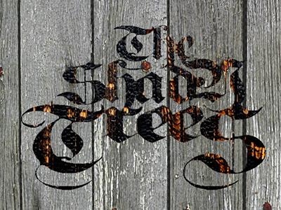 Shady Trees logo burned wood