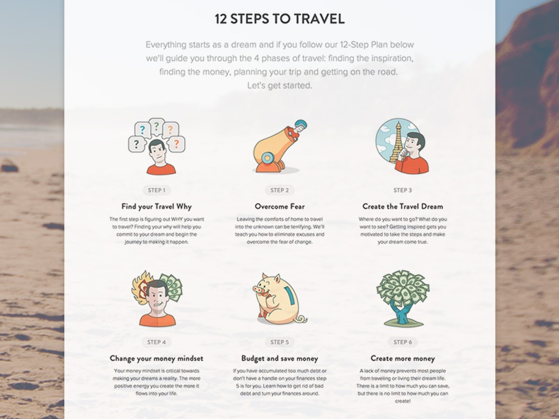 yTravel Blog 12 Steps to Travel Landing Page v2 travel landing page infographic icon icon set money retro steps roadmap timeline website interface