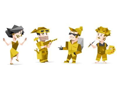 16 Personalities Type Characters - Explorers personality type character icon set geometric style explorer artist dancer esfp estp
