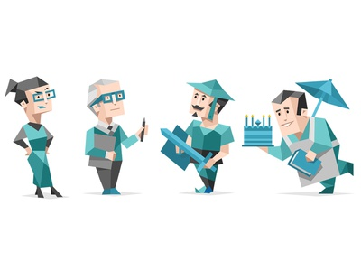 16 Personalities Type Characters - Sentinels personality type icon character teal geometric funny cartoon