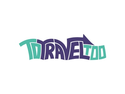 To Travel Too Logo baby boomer funky teal purple line arrow letters typography type logo travel