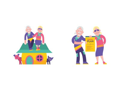 To Travel Too Icons flat icon yellow teal cat dog house baby boomer character funky
