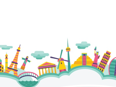 To Travel Too Blog Banner pink yellow teal world landmark travel funky blog header banner website