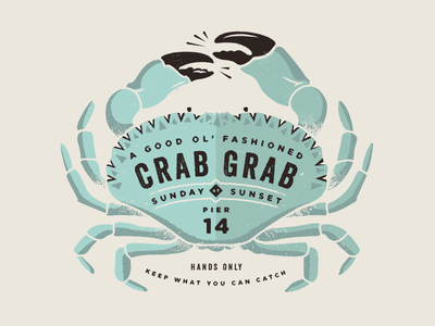 Crab grab poster illustration vector pier maine seafood shellfish crustacean blue crab