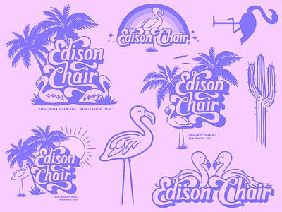 Flamingo periwinkle pink desert florida logo band cactus rainbow summer flamingo illustration