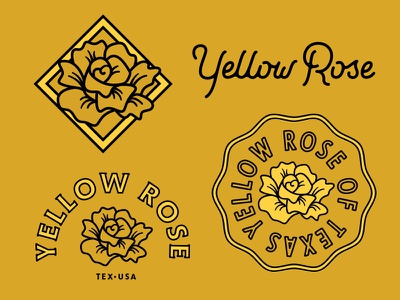Yellow Rose texas badge type floral flower r y lettering vector lockup rose yellow