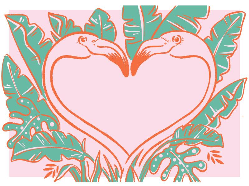 vacay lovers illustration heart love rainforest tropical flamingo