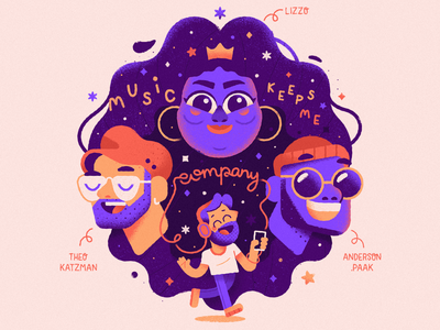Music keeps me company lettering vector art vector quarantine coronavirus portrait lizzo music character design illustration