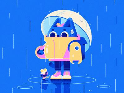 Cold & Rainy ☔️ calligraphy card vector art character rain character design vector cute illustration cat