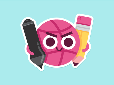 Locked & Loaded illustration wacom pen pencil cute character playoff stickermule sticker dribbble