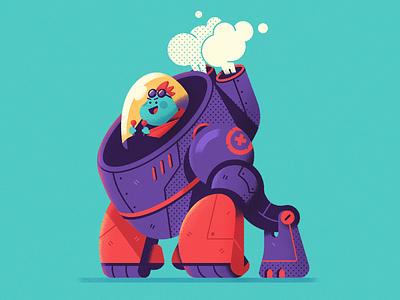 Mecha-Gorilla frog 2d sci-fi robot mecha vector art drawing photoshop concept character design character design vector illustration