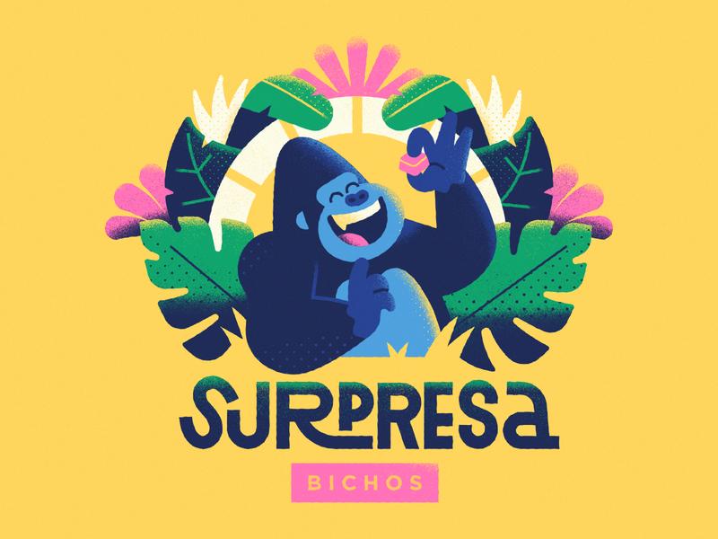 Surpresa Bichos - Warmup #3 character logo flat dribbbleweeklywarmup lettering packaging jungle vector illustration branding chocolate gorilla