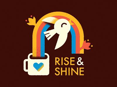 Rise & Shine Coffee - Warmup #8 warmup vector character typography coffee rainbow bird illustration design icon badge logo branding dribbbleweeklywarmup