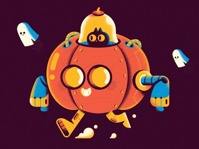 Pumpkin Mecha-Runner 3000 - Warmup #9 sketch process dribbbleweeklywarmup warmup mecha robot ghost cat pumpkin halloween vector art character character design cute vector illustration