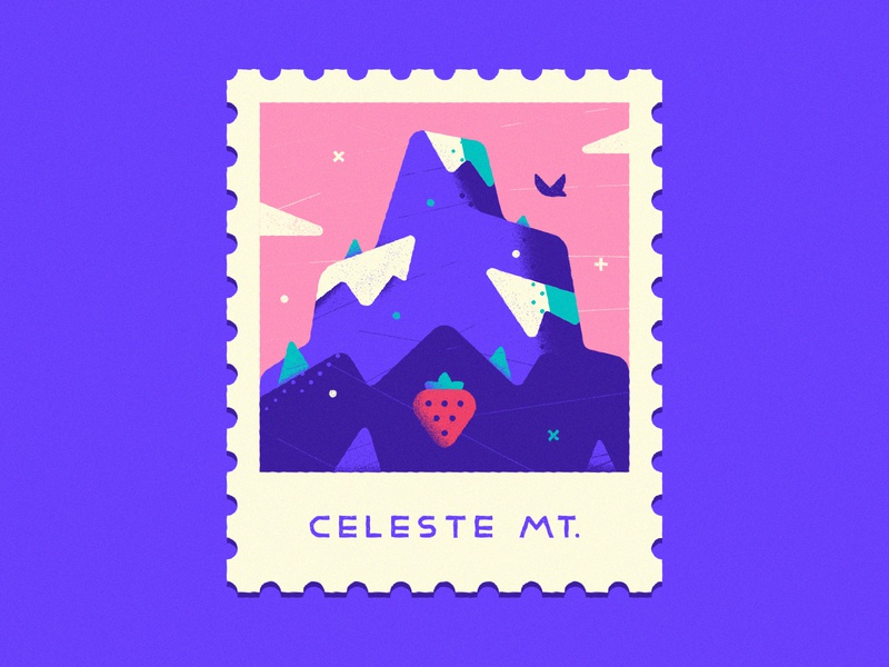 Celeste Mountain - Warmup #10 winter badge warmup dribbbleweeklywarmup flat icon typography lettering design graphic design vector art stamp celeste mountain strawberry videogame vector illustration