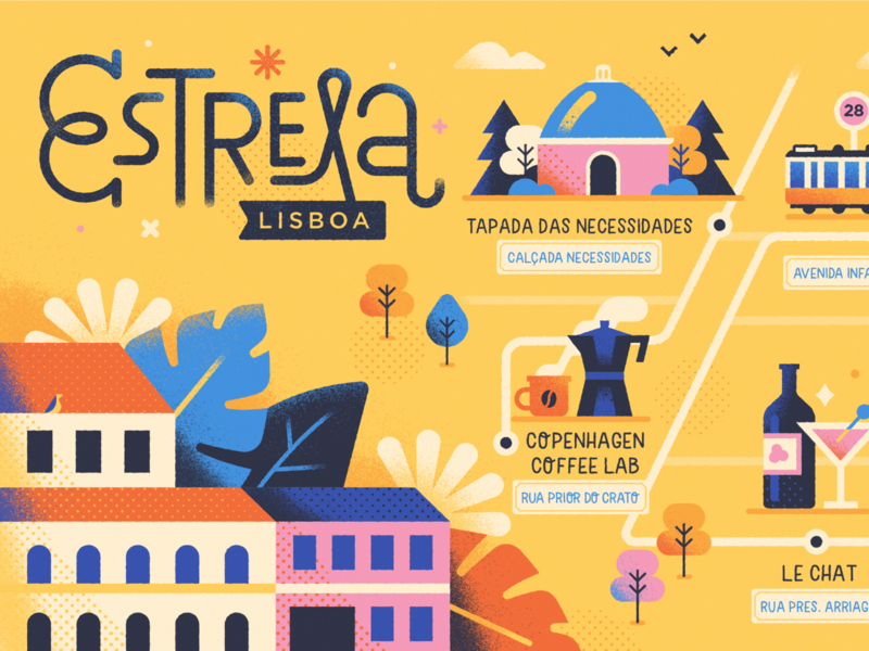 Estrela, Lisbon mapping icon maps flat lettering typography park portugal lisbon map character cute vector illustration