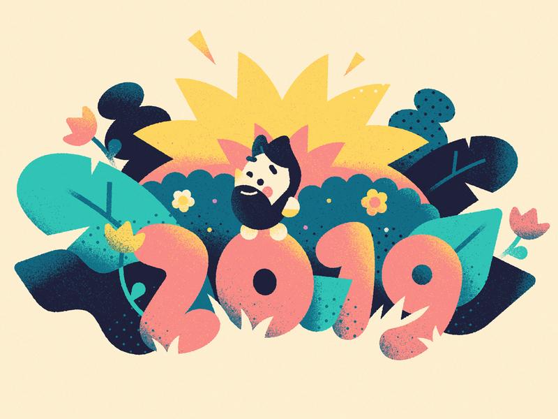 Thankful for 2019 - Warmup #12 character design vector art jungle book flat dribbbleweeklywarmup warmup sun forest jungle character cute vector illustration