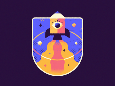 Liftoff - Warmup #13 graphic design pencil galaxy stars space warmup patch mission patch branding vector art icon logo dribbbleweeklywarmup character cute vector illustration