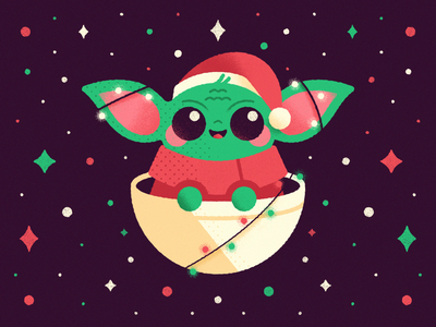 Little Baby Yoda - Warmup #14 baby shower character design vector illustration warmup stars weeklydribbblewarmup space christmas star wars cute baby yoda