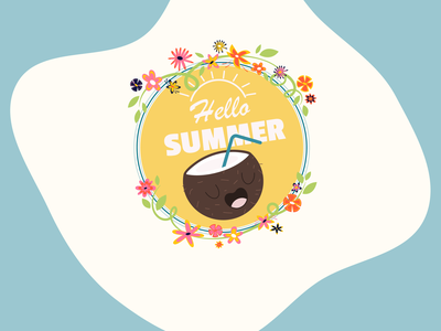 Hello summer badge seasons summer dribbbleweeklywarmup