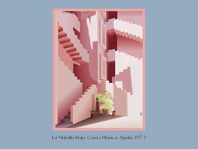 La Muralla Roja. Ricardo Bofill figma vector architecture illustration