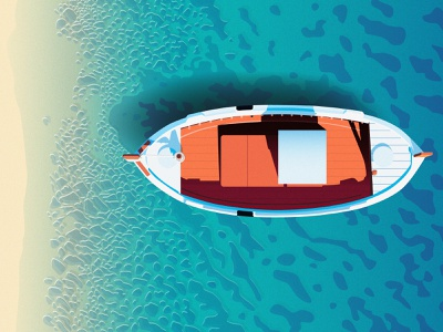 Boat on a Beach - Illustration ripples gradients digital illustration adobe illustrator water ocean boat sea contrast blue yellow product design vector illustration vectorart vector flat designs flat design illustration digital illustration