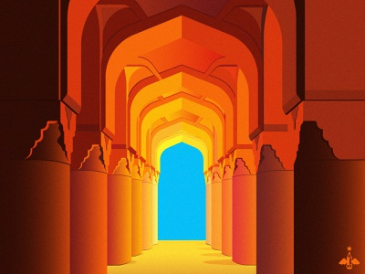 Daily Doodle Exercise - Columns & Archway adobe illustrator daily illustrations graphic design architecture contrast blue brown yellow ocher ochers orange flat design digital art vector illustration vector art vector daily illustration daily vector daily doodle daily art