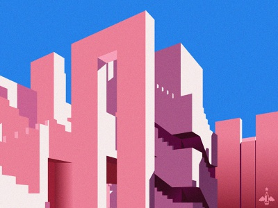 Daily Doodle Exercise - La Muralla Roja pink color geometry contrast constructivism calpe spain muralla roja building complex stairs architecture vectorart digital art illustration vector daily vector daily exercise daily doodle daily art