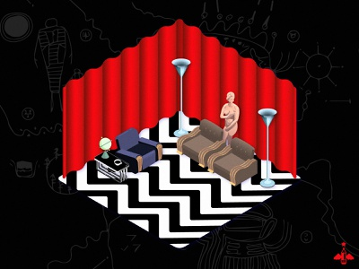 Daily Doodle Exercise - Twin Peaks Black Lodge Isometric illustration adobe illustrator realistic contrast gradient color isometric design product design black lodge twin peaks gradient flat desig flat design graphic design design vector illustration vector isometric daily doodle daily art daily illustration