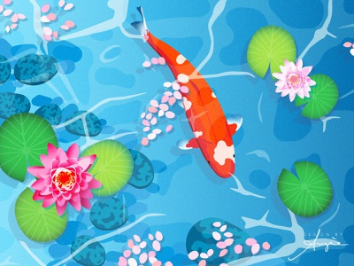 Daily Doodle Exercise - Koi in a Pond contrast gradients flat design lily pads nenuphar lilies water lilies water pond koi fish koi daily doodle daily art digital artist digital art digital illustration vector illustration