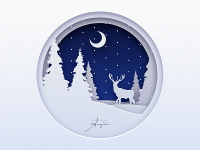 Daily Doodle - Christmas Illustration paper paper cut out card christmas card vector illustration flat design light shadow deer contrast blue white snow new year christmas vector artwork vector artist vector art daily art digital illustration