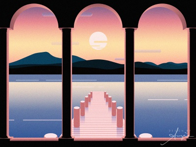 Daily Doodle Exercise - Sunset Arches daily doodle vector vector illustration vector artist flat design black blue pink sky sunsets contrast water sunset arches landscape vector art daily vector daily art