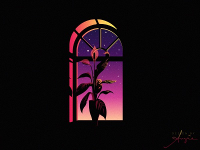 Daily Doodle Art - Dawning Lights purple yellow pink vector illustration vector geometric flat design contrast sky stars shadows lights plant window minimalism illustration digital digital illustration digital artist daily doodle daily art