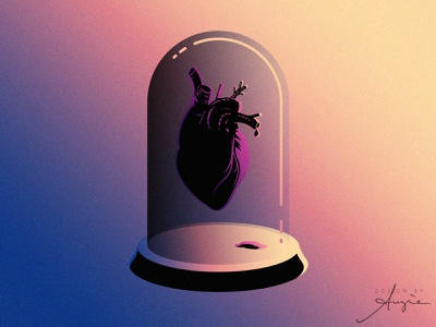 "Daily Doodle Exercise - ""Heart Failed"" minimalism gradient vector art illustration pain blood digital illustration daily doodle blue pink yellow black contrast cloche heart vector artist flat design vector illustration daily art"