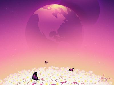 """Daily Art - """"Happy Up Here"""" cosmos universe sky flowers purple pink yellow crypto adobe illustrator daily art illustration contrast vector illustration vector flat design"""