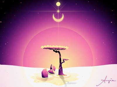 "Daily Art - ""The Shrine"" vector artist symbolism contrast yellow pink purple stars moon sun landscape flat design daily art illustration vector illustration vector"