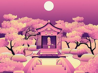"""NFT Art - """"Jizo Buddha"""" trees shrine statue jizo buddha zen landscape crypto nft community digital illustration artist nft artist nft art nft daily art illustration contrast vector illustration vector flat design"""