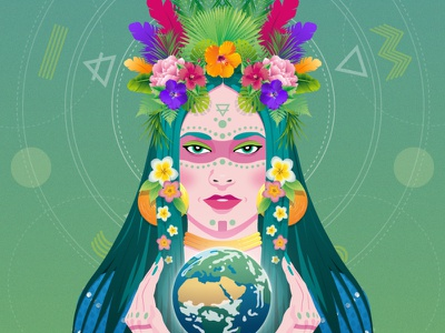Sol Sister - Earth Goddess creative digital art nft collectible nft art nft front portrait vegetation elements earth goddess woman daily art illustration contrast vector illustration vector flat design