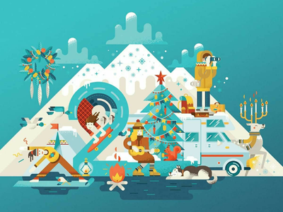 21 shop Travel christmas newyear forest travel streetstyle sport winter illustration irinaklmn irinaklimina