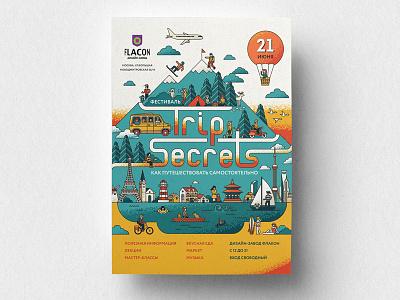 Trip secrets travel trip typography type graphic design vector poster illustration irinastepanova