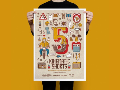 Kinematic Shorts poster yellow poster movie drawing vector irinastepanova illustration graphic