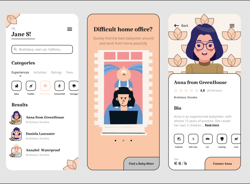 Find your babysitter :) profile design app colors illustration mobile app mobile babysitter babysitting figma uiux ui