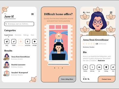 Find your babysitter :) profile design app colors illustration mobile app mobile babysitter babysitting figma uiux ui