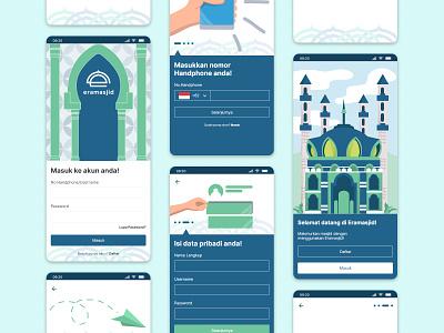 Eramasjid Login and Register UI Design mobile app design mobile ui uiux design register page login page interface design ui design social media design