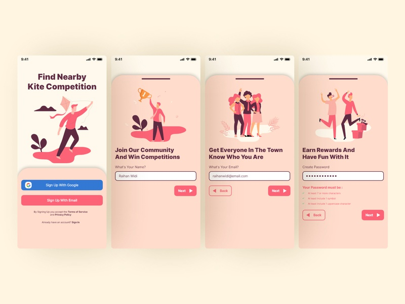 Kite Competition App Sign Up register page mobile app design mobile register ui design uiux app design mobile ui