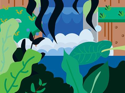 Finding idea in a jungle graphic design illustration