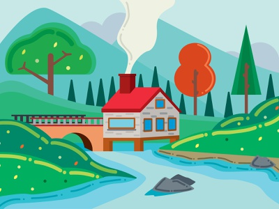 Village and Mountains animation design illustration vector graphic design