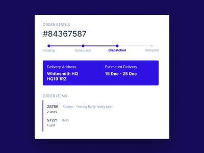 Order Status Snippet order status ecommerce livetracking ordertracking mininal web ux ui