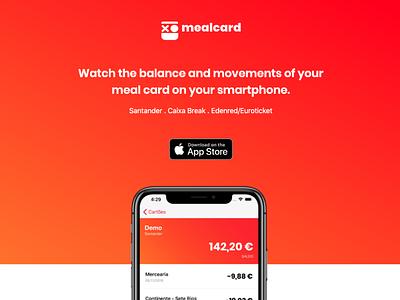 Mealcard App Landing ux ui spendings product money mobile marketing landing finaceapp bankapp balance app